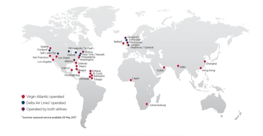 rute și destinații Virgin Atlantic
